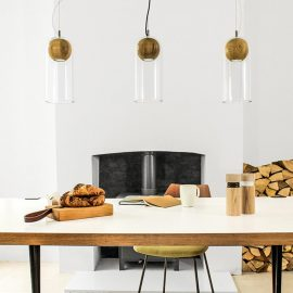 Glass Wood Pendant Lights