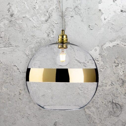 Gold Glass Ball Pendant Light