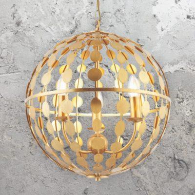 Gold Leaf 3 Light Orb Pendant Light