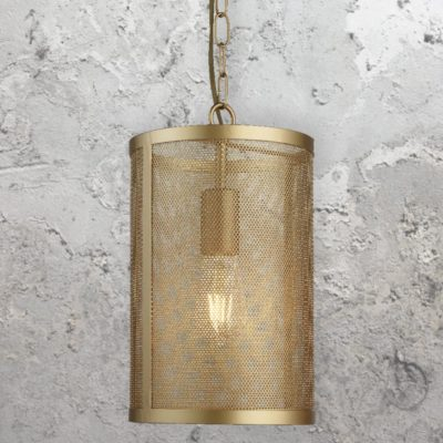 Matt Gold Mesh Cylinder Pendant Light