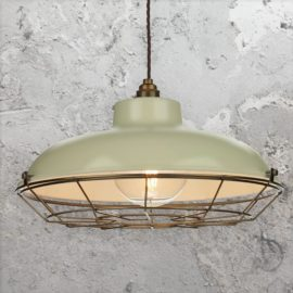 Green Cream Industrial Cage Pendant Light