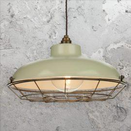 Green Cream Industrial Cage Pendant Light
