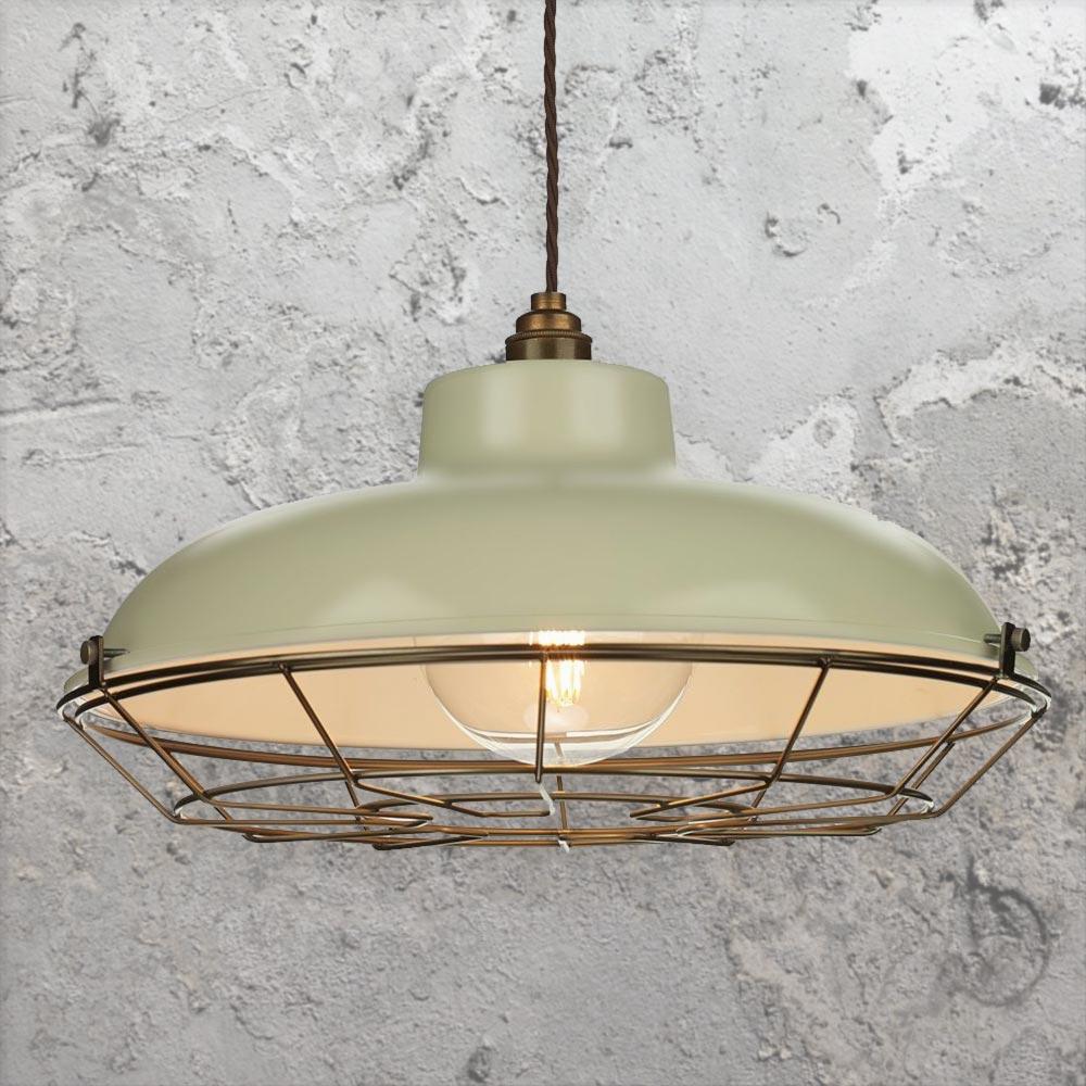 Industrial Pendant Light Green: Green Cream Industrial Pendant Light 34372