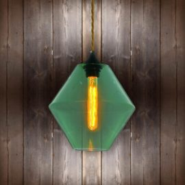 Green Glass Pendant Light - Antique Gold Twisted Braided CLB-00489