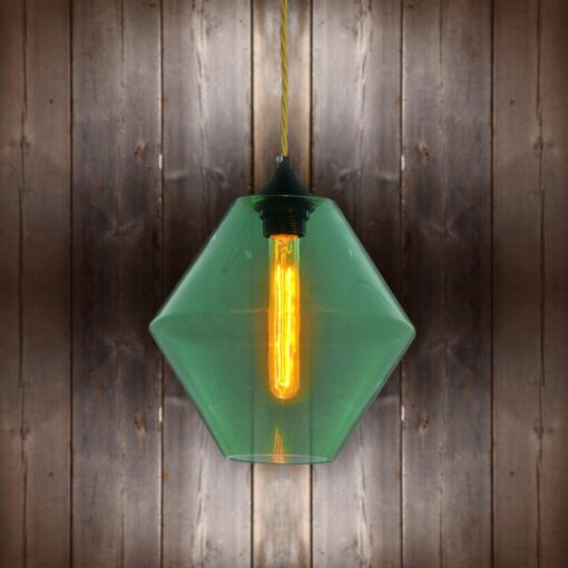 Green Glass Pendant Light - Brass Twisted Braided CLB-00489