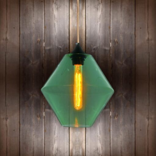 Green Glass Pendant Light - Copper Round CLB-00489