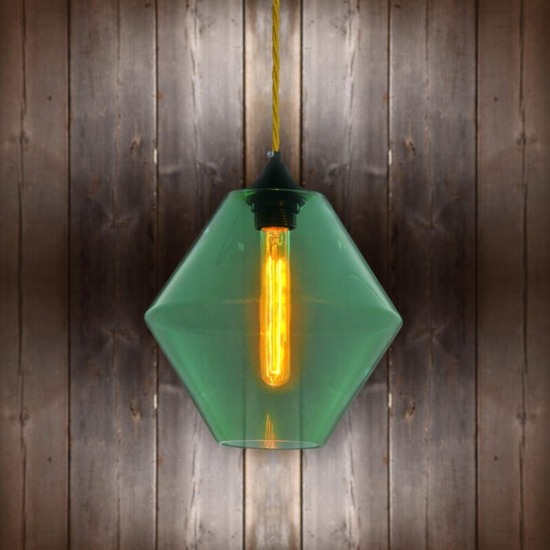 Green Glass Pendant Light - Light Gold Twisted Braided CLB-00489