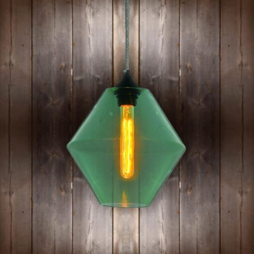 Green Glass Pendant Light - Tweed Round CLB-00489