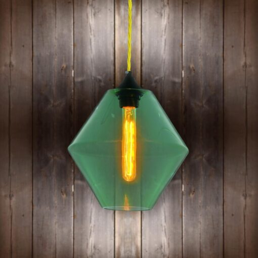 Green Glass Pendant Light - Yellow Twisted Braided CLB-00489