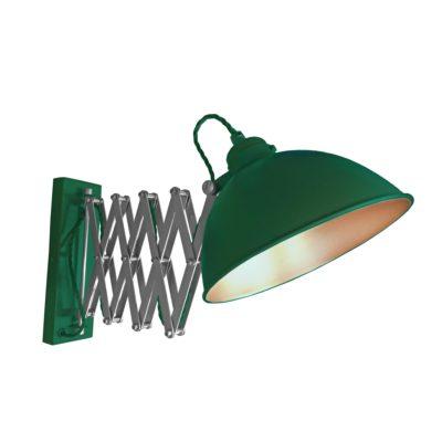 Green Scissor Arm Wall Light Copper Inner