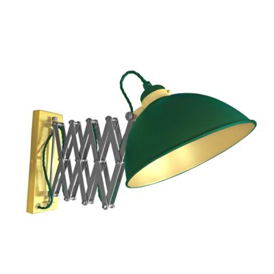 Green Scissor Arm Wall Light Satin Brass Inner