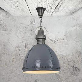 Industrial grey hammered metal pendant light
