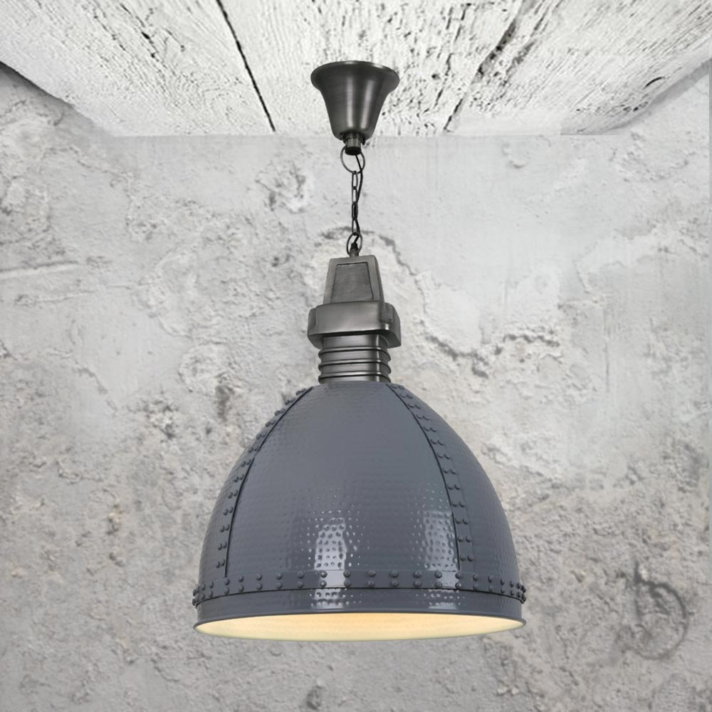 grey hammered metal pendant light cl 34038 e2 contract lighting uk