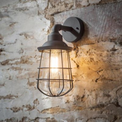 Grey Outdoor Cage Wall Light