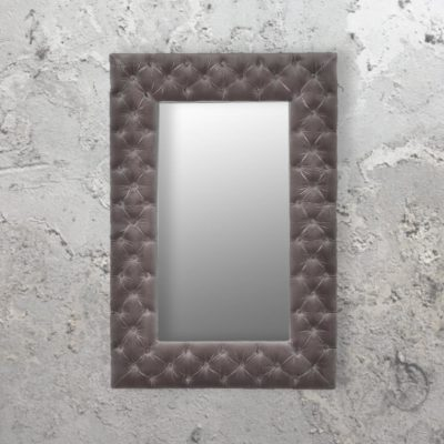 rectangle luxury buttoned grey velvet mirror