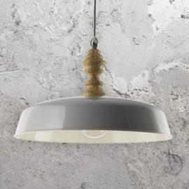 Grey Wooden Pendant Light