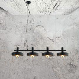 industrial4 light pendant fitting,flat industrial styledblack metal shades