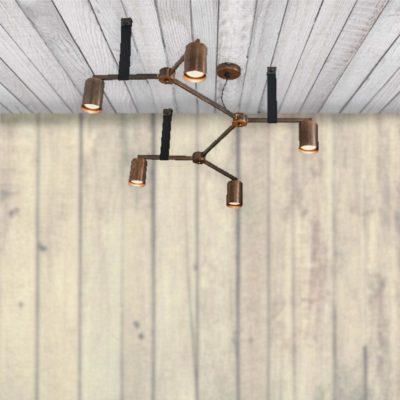 Industrial 5 Light Copper Pendant