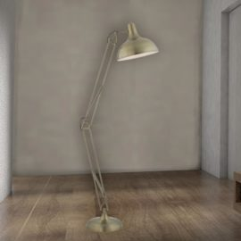 Industrial Adjustable Antique Brass Floor Lamp