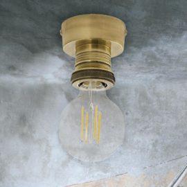 Industrial Antique Brass Flush Light