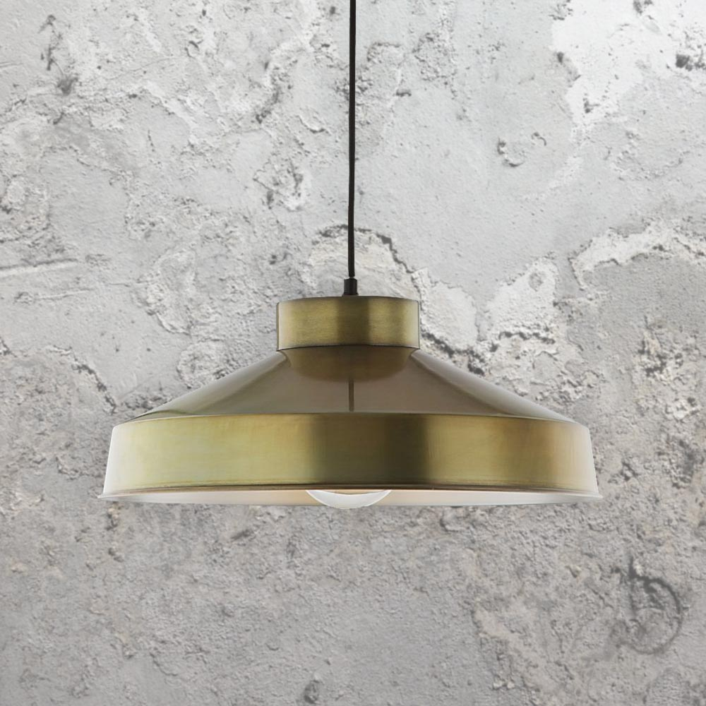 Industrial Antique Brass Pendant Light 36701 E2 Contract Lighting Uk
