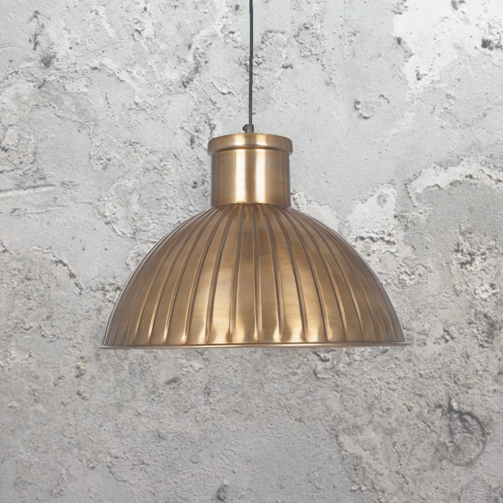 Industrial Antique Brass Pendant Light 37257 E2 Contract Lighting Uk