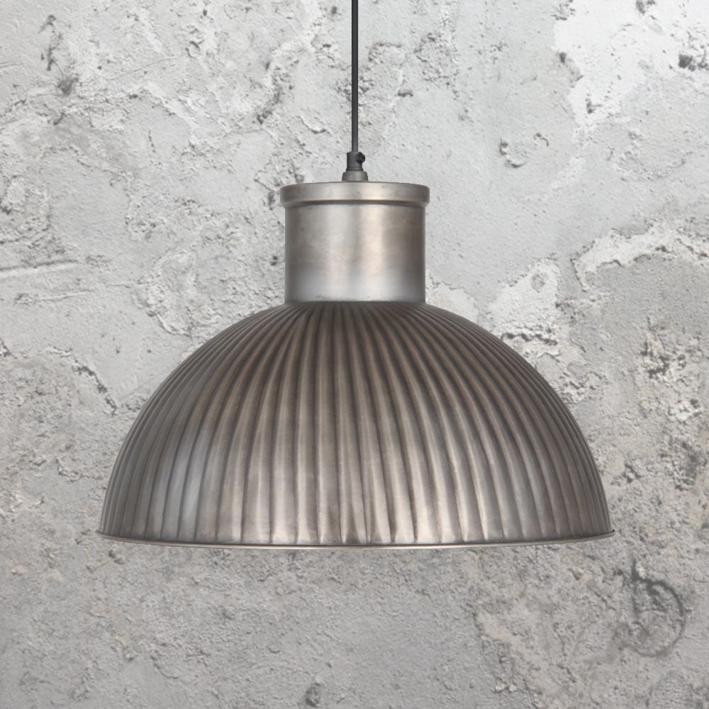 Industrial Antique Silver Pendant Light Cl 34384