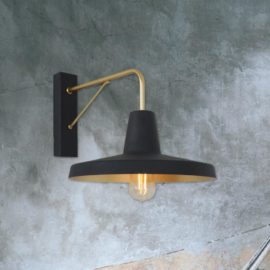 Industrial Black and Gold Wall Light