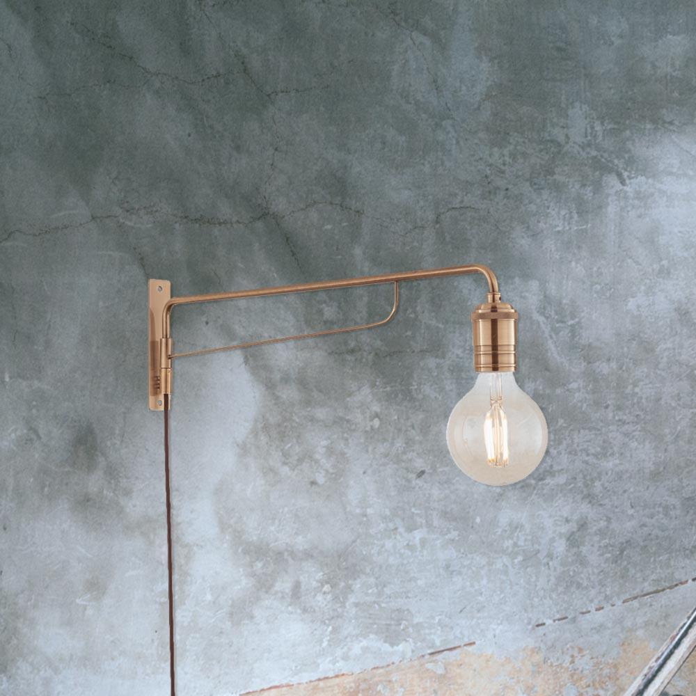 Industrial Brass Swing Arm Wall Light 35485 E2 Contract Lighting Uk