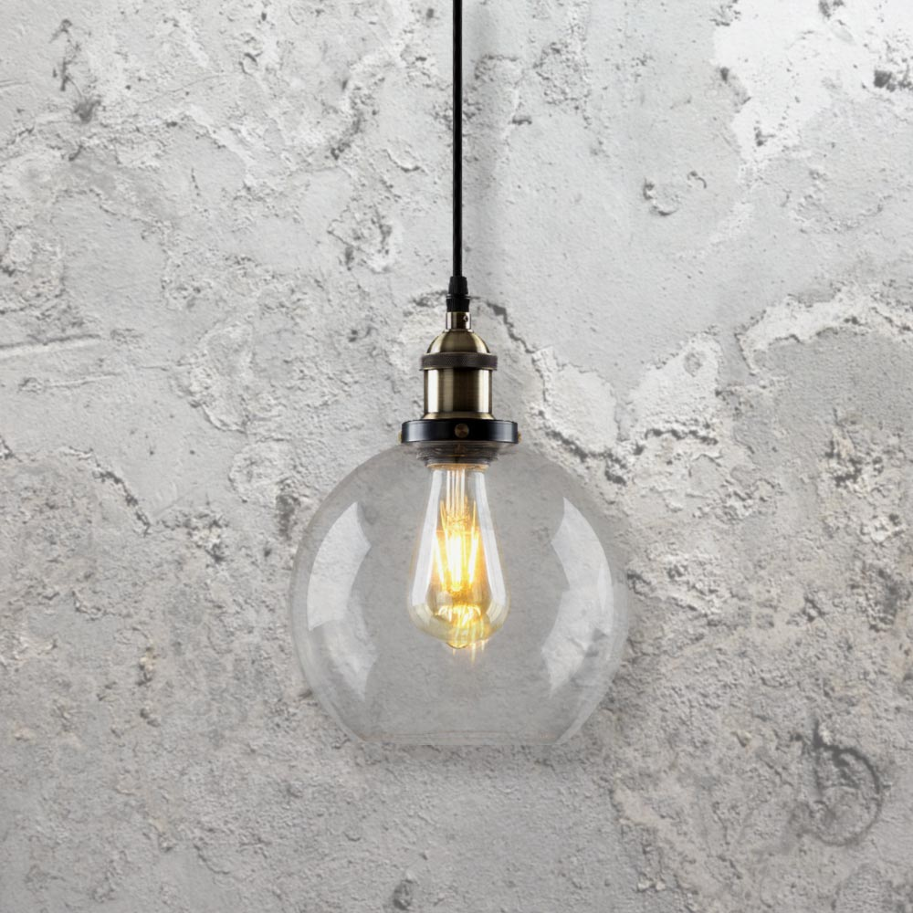 Clear glass globe pendant light cl 27917 e2 contract lighting uk industrial clear glass globe pendant light mozeypictures Choice Image