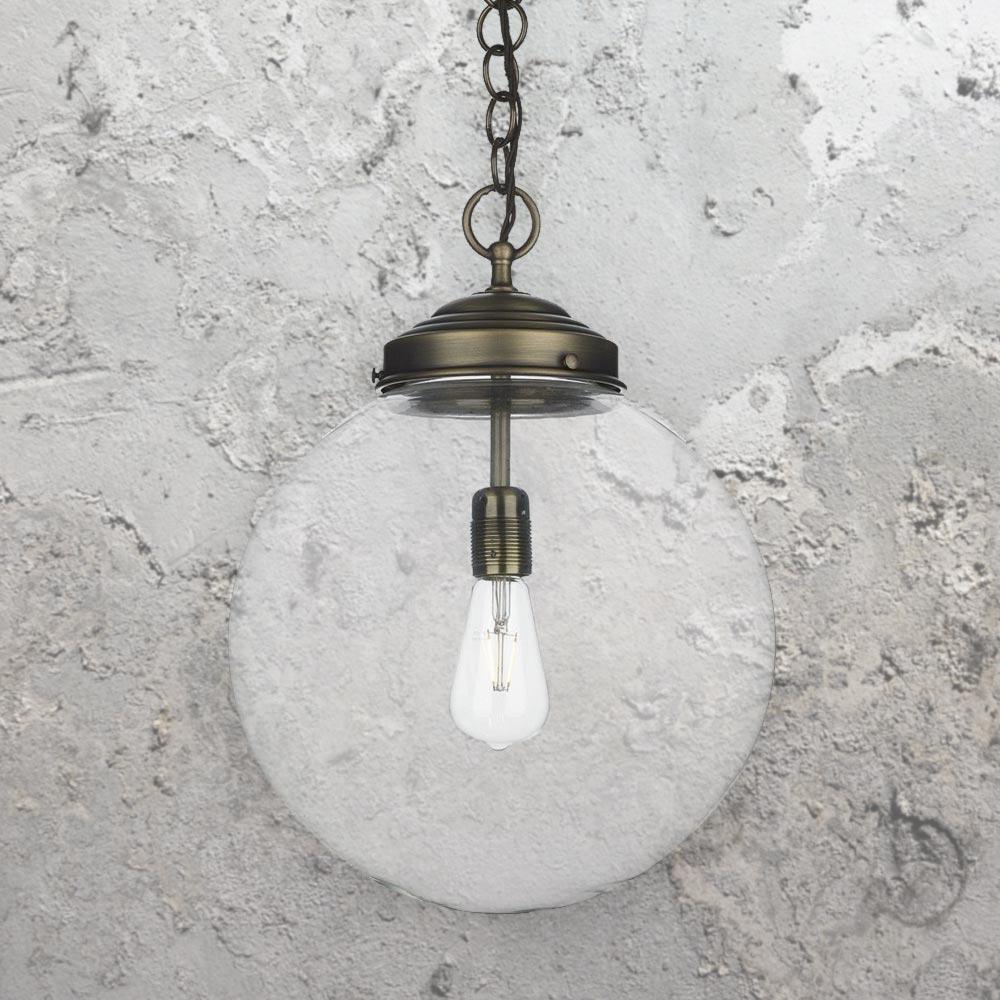 Industrial Clear Glass Globe Pendant Light E2 Contract Lighting Uk