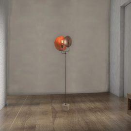Industrial Copper Dish Floor Lamp