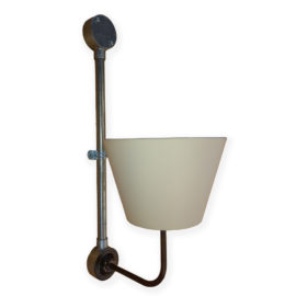 Industrial Galvanised Conduit Wall Light with Fabric Shade