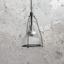 Industrial Ribbed Glass Pendant Light