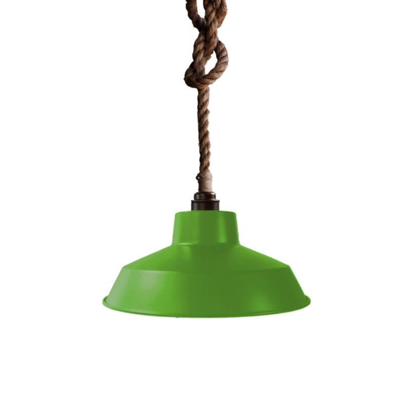 Industrial Rope Pendant Light Lime Green