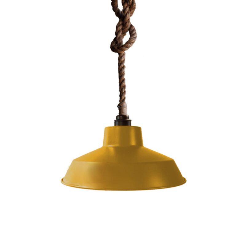 Industrial Rope Pendant Light Mustard Yellow