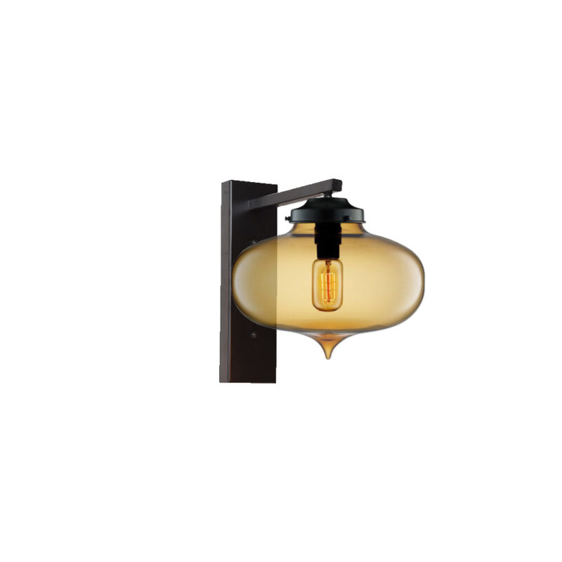 Amber Glass Wall Light,Industrial Round Glass Wall Light