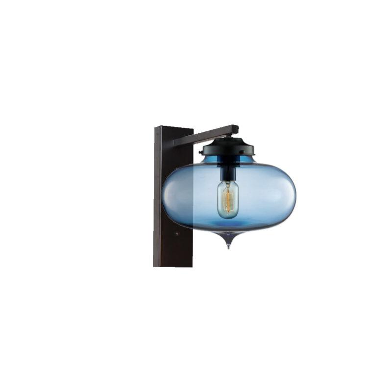 Blue Glass Wall Light,Industrial Round Glass Wall Light