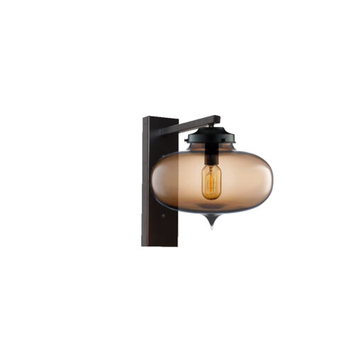 Brown Glass Wall Light,Industrial Round Glass Wall Light