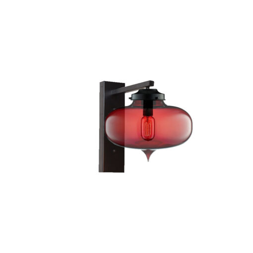 Red Glass Wall Light,Industrial Round Glass Wall Light