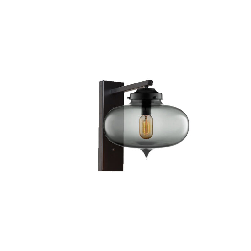 Smoked Glass Wall Light,Industrial Round Glass Wall Light