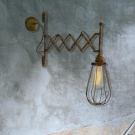 Industrial Scissor Cage Wall Light