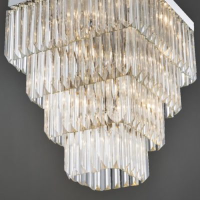 Large Chrome Flush Square Crystal Chandelier