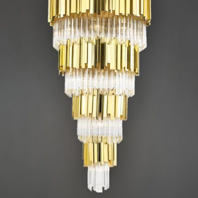 Large Polished Brass Round Crystal Feature Light