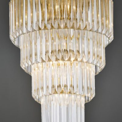 Large Round Flush Crystal Chandelier