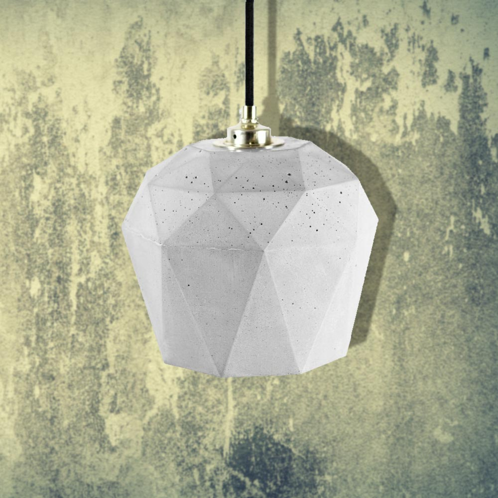 Light Concrete Geometric Pendant