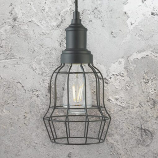 Matt Black Cage Pendant Light