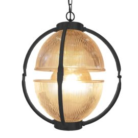 Matt Black Glass Orb Pendant Light,Prismatic Glass Orb Pendant Light