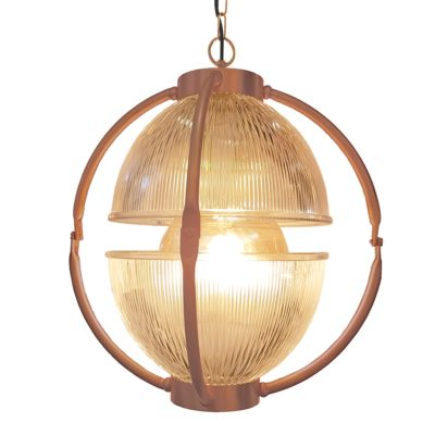 Matt Copper Glass Orb Pendant Light,Prismatic Glass Orb Pendant Light