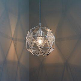 industrial geometric chrome mesh pendant light fitting